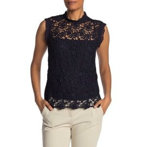 NWT Nanette Lepore Navy Lace High Neck Top